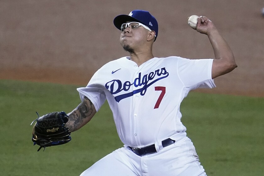 Dodgers reliever Julio Urías pitches to an Oakland Athletics batter. He retired 12 of the first 13 batters he faced.
