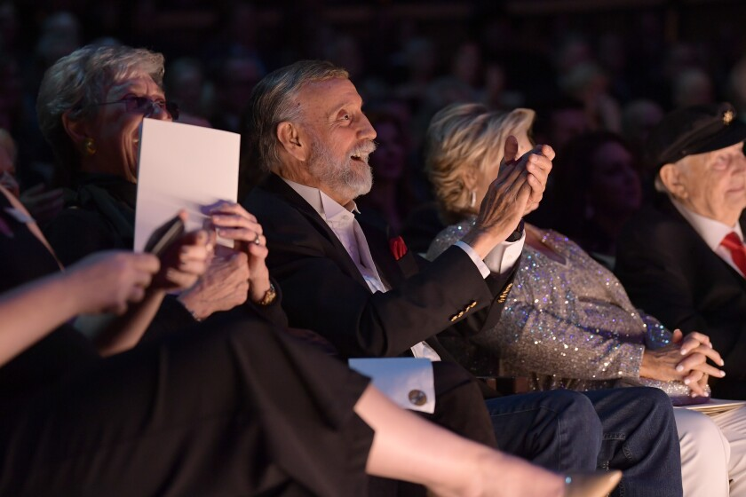 """Ray Stevens, center, at the Country Music Hall of Fame ceremony on Oct. 20 in Nashville. He keeps making new music, he says, because """"I still have things I want to say musically in a public forum."""""""