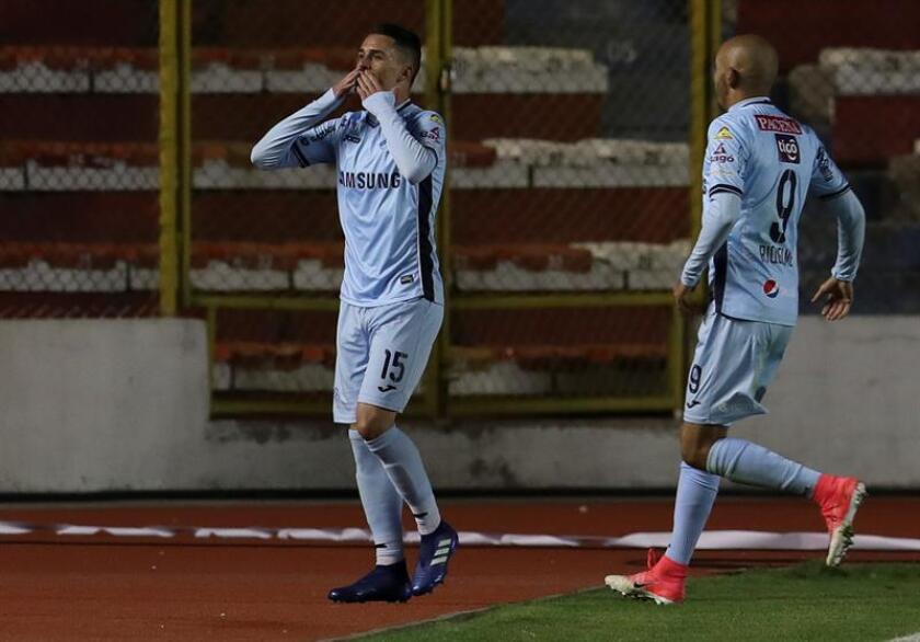 'Celestes' y 'atigrados' empataron 1-1 en partido de la vigésima jornada del fútbol en Bolivia. En la imagen el registro de una de las celebraciones del Bolívar de La Paz.
