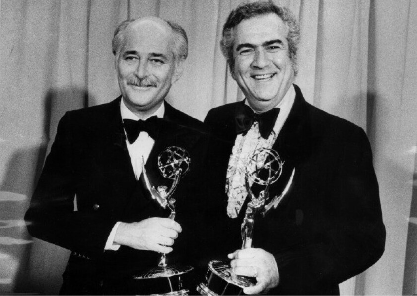 """John Rich, right, pictured with Norman Lear in 1973 when they won an Emmy for outstanding series for """"All in the Family."""""""