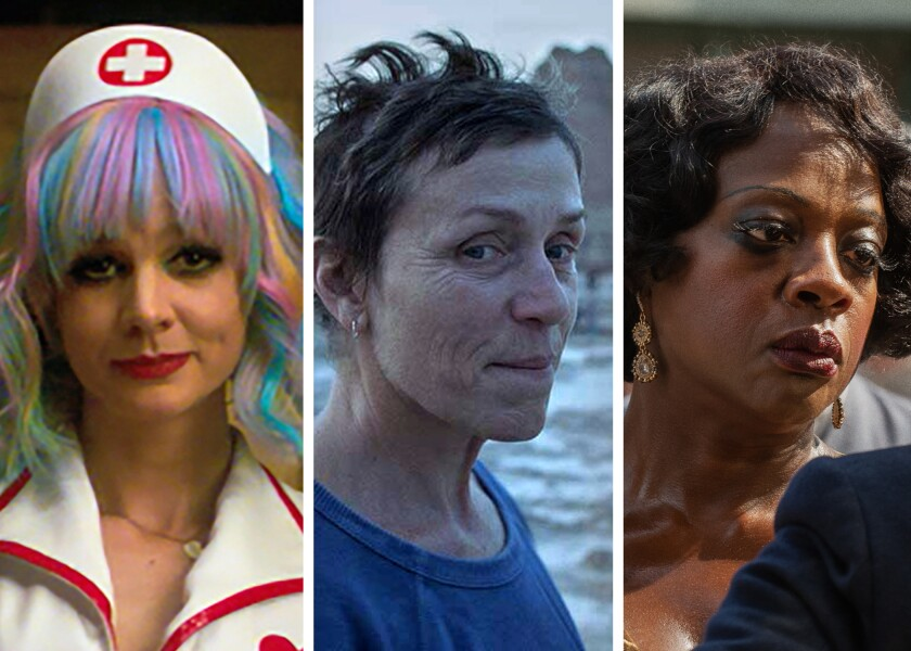 "Oscar contenders Carey Mulligan (""Promising Young Woman""), Frances McDormand (""Nomadland""), Viola Davis (""Ma Rainey's"")"
