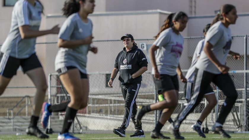 LOS ANGELES, CA, WEDNESDAY, JUNE 26, 2019 - Downtown Los Angeles Soccer Club coach Mick Muhlfriedel