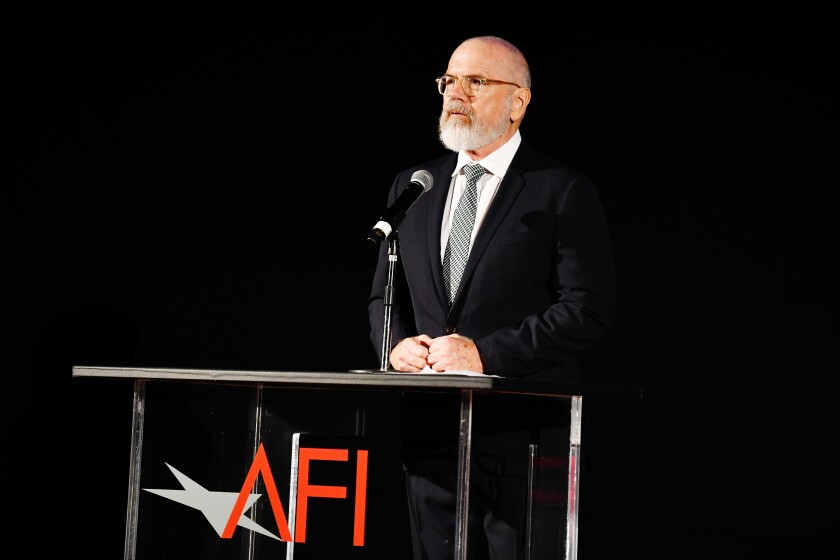 Director of AFI Festivals Michael Lumpkin speaks onstage during AFI Fest: The Crown & Peter Morgan Tribute