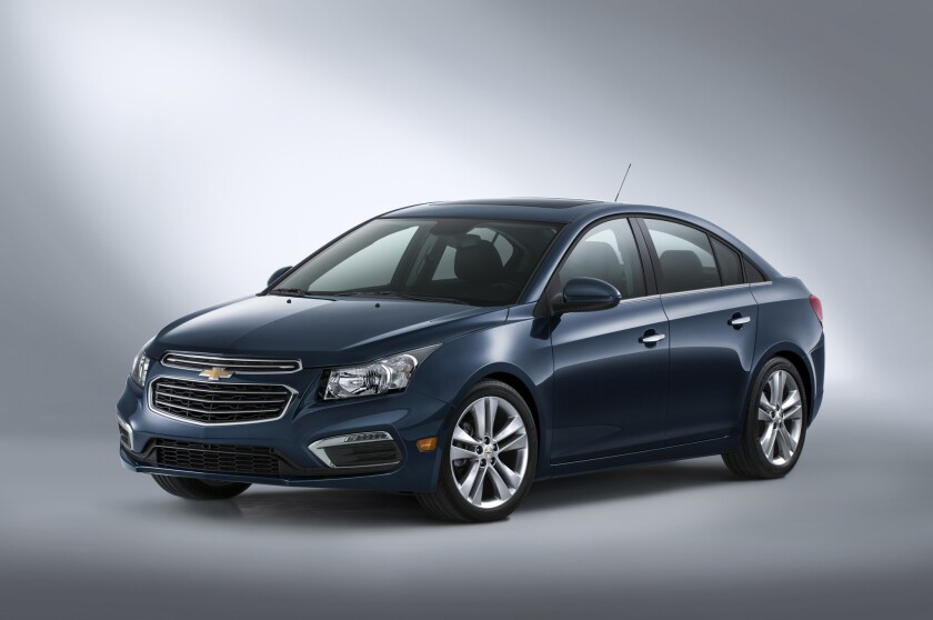 2015 Cruze compact car receives updated front fascia design and technologies including 4G LTE and text message alerts in addition to MyLink's 7-inch screen and Siri Eyes Free compatibility.