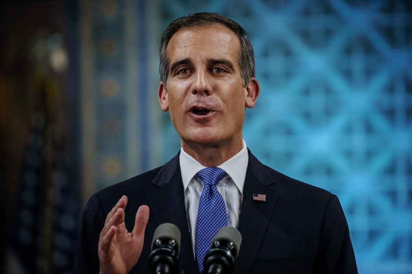 Mayor Eric Garcetti during his state of the city address in April.