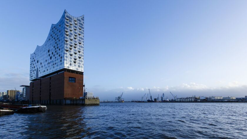 The Elbphilharmonie concert hall, jutting out into the water.