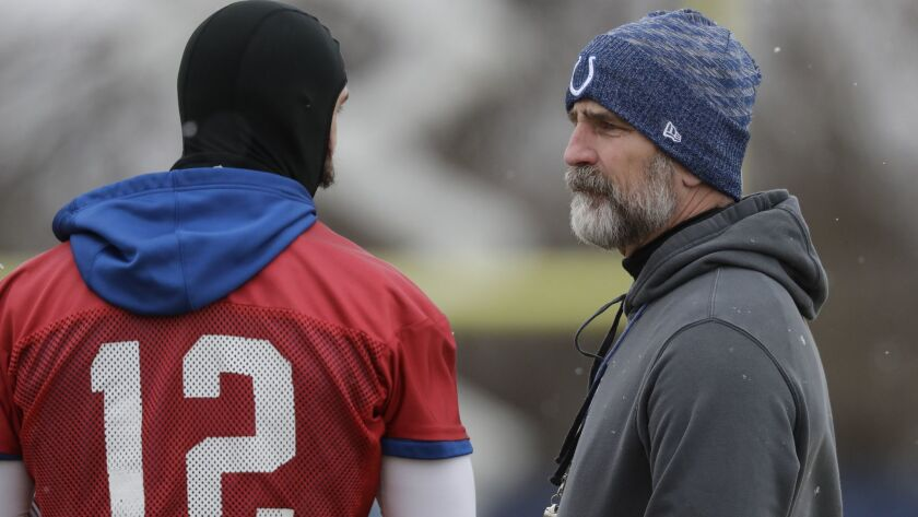 Indianapolis Colts head coach Frank Reich talks with quarterback Andrew Luck (12) during practice on Wednesday in Indianapolis. The Colts will play Kansas City in a AFC divisional round game on Saturday.