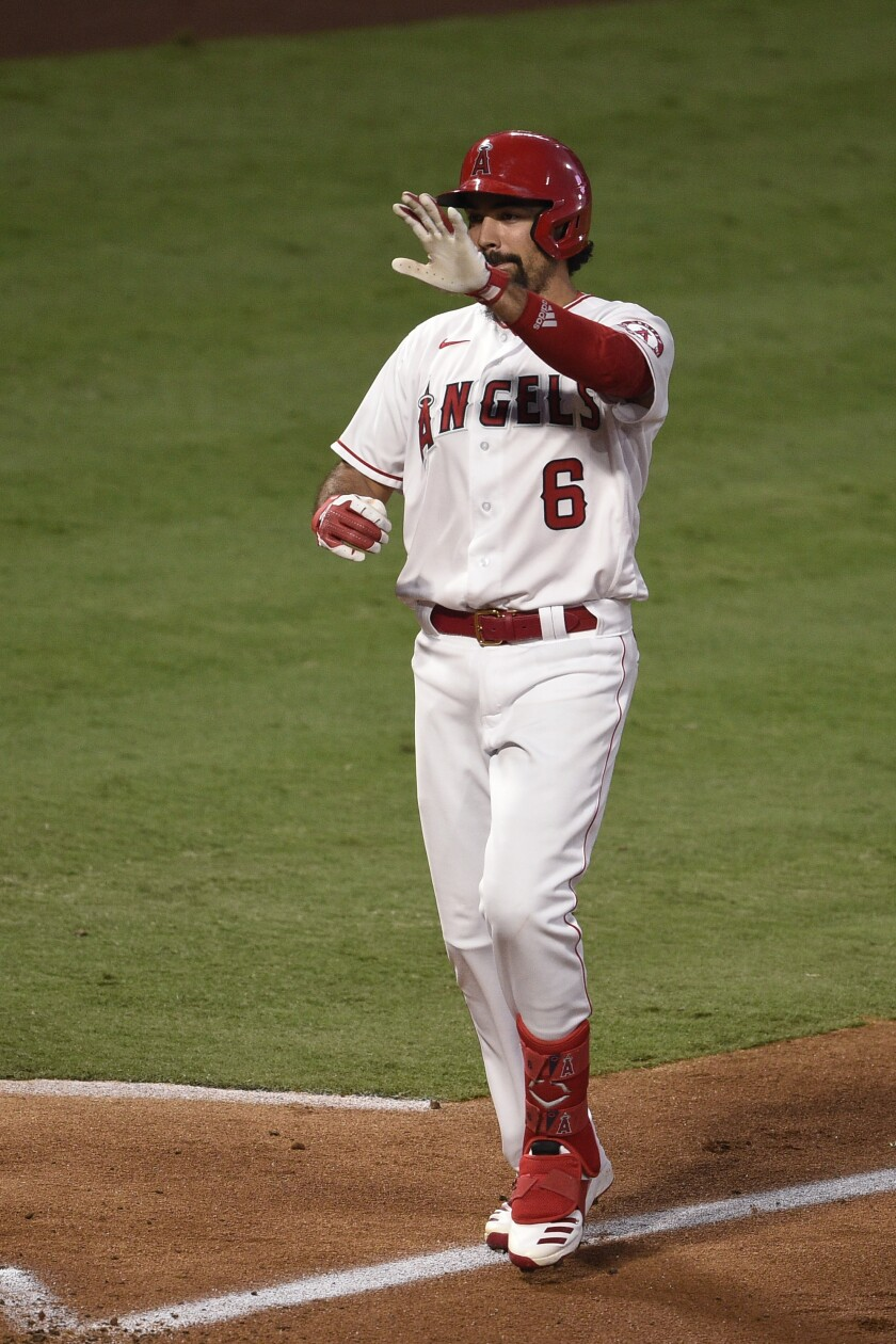 The Angels' Anthony Rendon homered against the Oakland Athletics on Aug. 11, 2020.