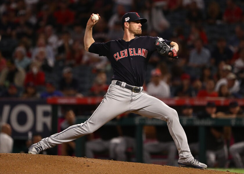 Cleveland Indians pitcher Shane Bieber pitches during the first inning against the Angels at Angel Stadium on Monday.