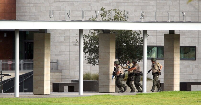 SAN DIEGO_ California State University San Marcos (CSUSM) conducted active shooter training exercises Wednesday in conjunction with the San Marcos Fire Department, San Diego County Sheriff's Department and a number of other agencies.The drills, which took place in the University Student Union.  San Diego County Sheriff's Deputies respond to an active shooter during a drill at the student union on the campus of CSUSM. John Gastaldo / San Diego Union-Tribune