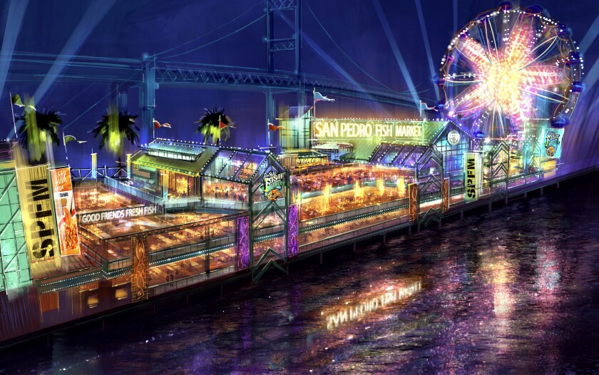 A drawing of buildings with lights and a Ferris wheel on the waterfront