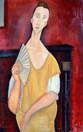 """Amadeo Modigliani's """"La femme a l'eventail"""" (""""Woman with a Fan"""") was stolen. The fifth painting stolen was """"Nature-mort aux chandeliers"""" (""""Still Life with Chandeliers"""") by Fernand Leger."""