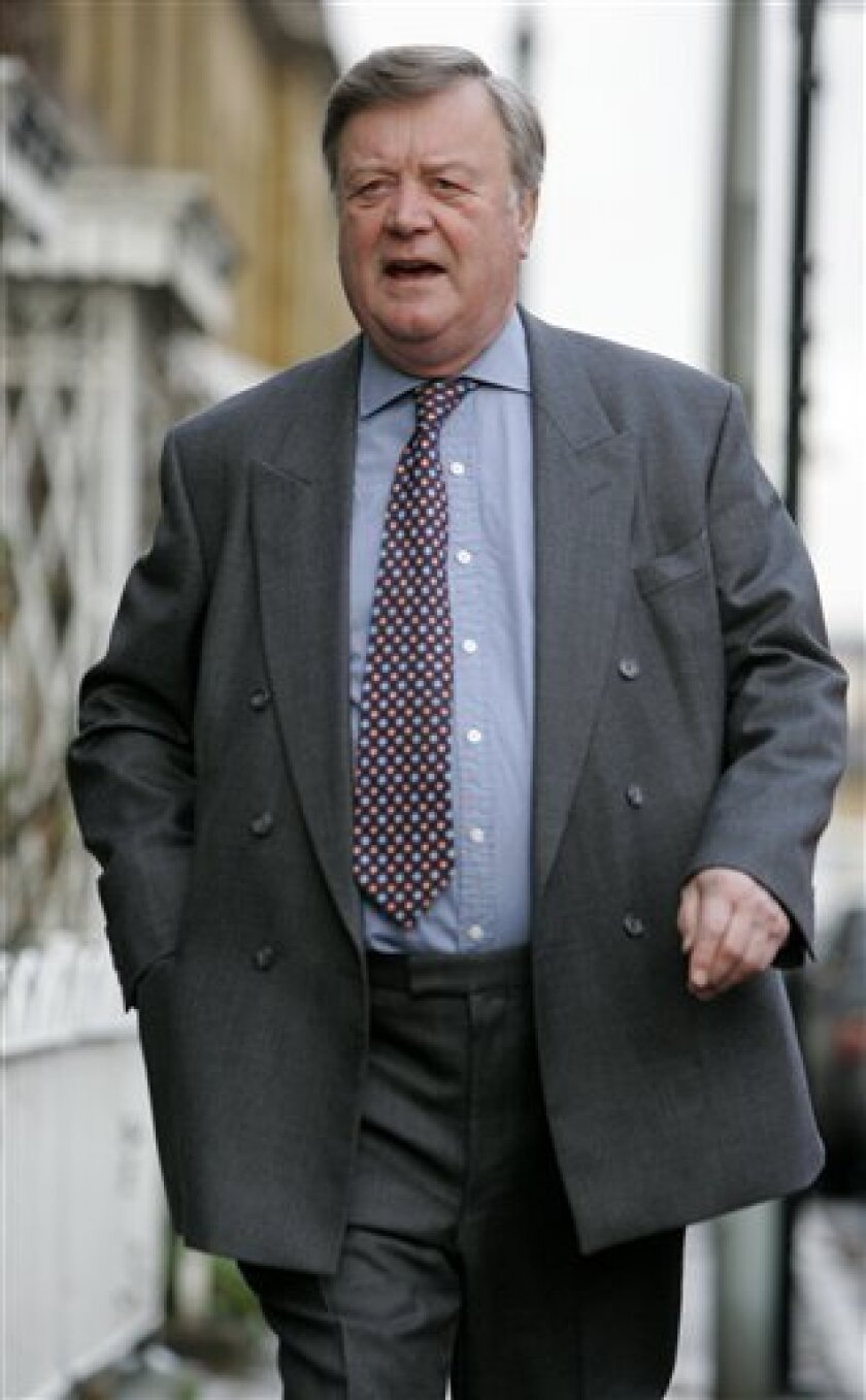 British Conservative Party politician Kenneth Clarke leaves his London home, Monday, Jan. 19, 2009, after being given a high ranking job within the opposition party.  Clarke, a former Tory party Chancellor of the Exchequer, has returned to front line politics on the opposition front bench as Shadow