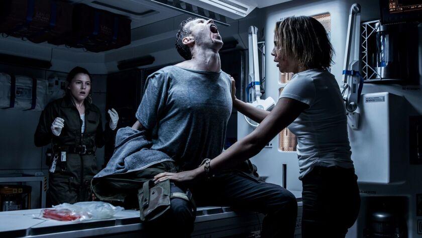 "Horror on board: from left, Amy Seimetz, Benjamin Rigby and Carmen Ejogo in ""Alien: Covenant."""