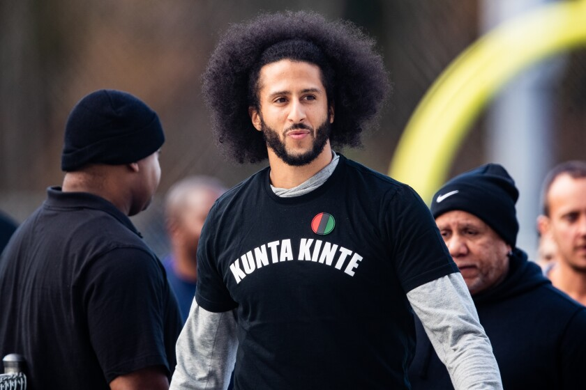 Colin Kaepernick during an NFL workout in November in Riverdale, Georgia.