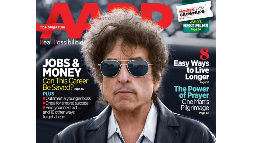 Bob Dylan on the cover of the February/March issue of AARP - The Magazine.