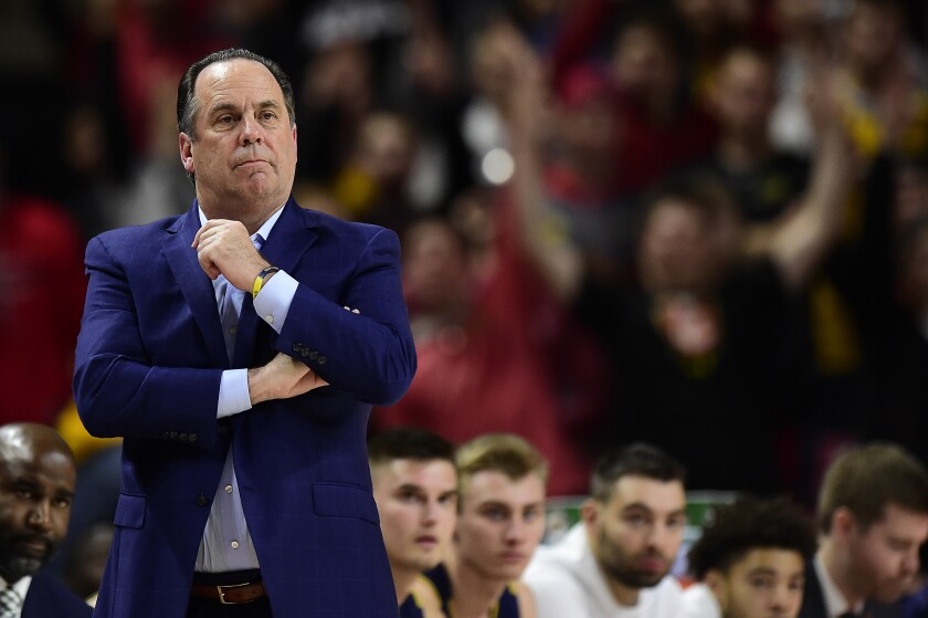 Notre Dame head coach Mike Brey looks on in the second half against Maryland on Dec. 4 in College Park, Md.