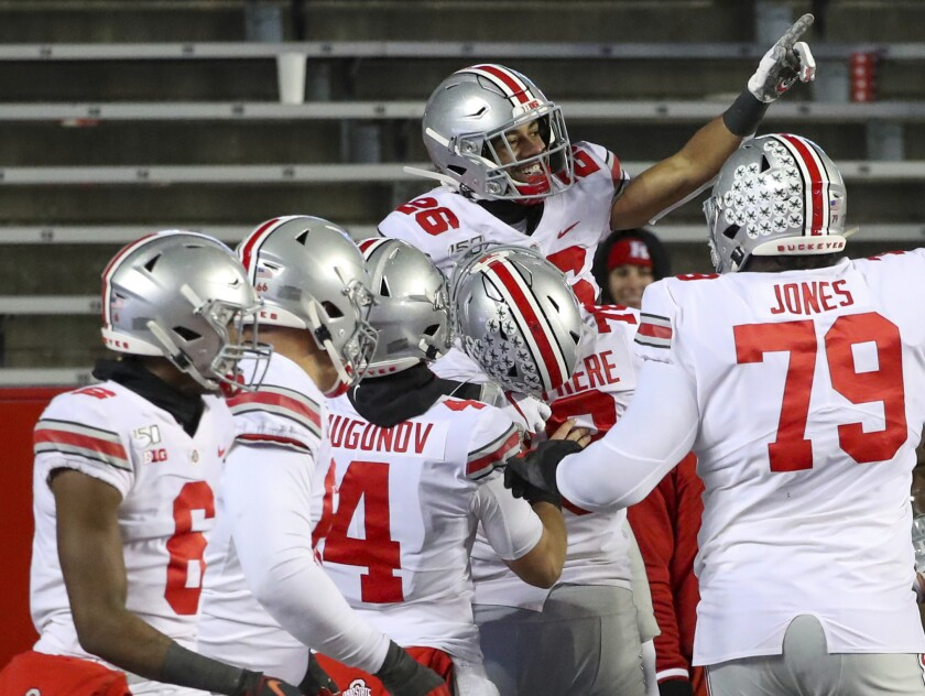 Ohio State wide receiver Jaelen Gill celebrates after scoring on a touchdown reception.