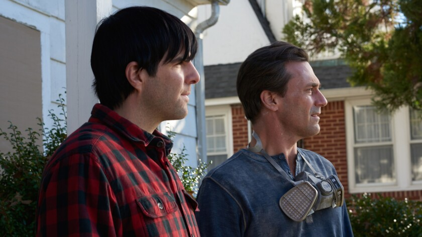(L-R) - Actor/producer Zachary Quinto and actor Jon Hamm in the first still from writer/director Bri