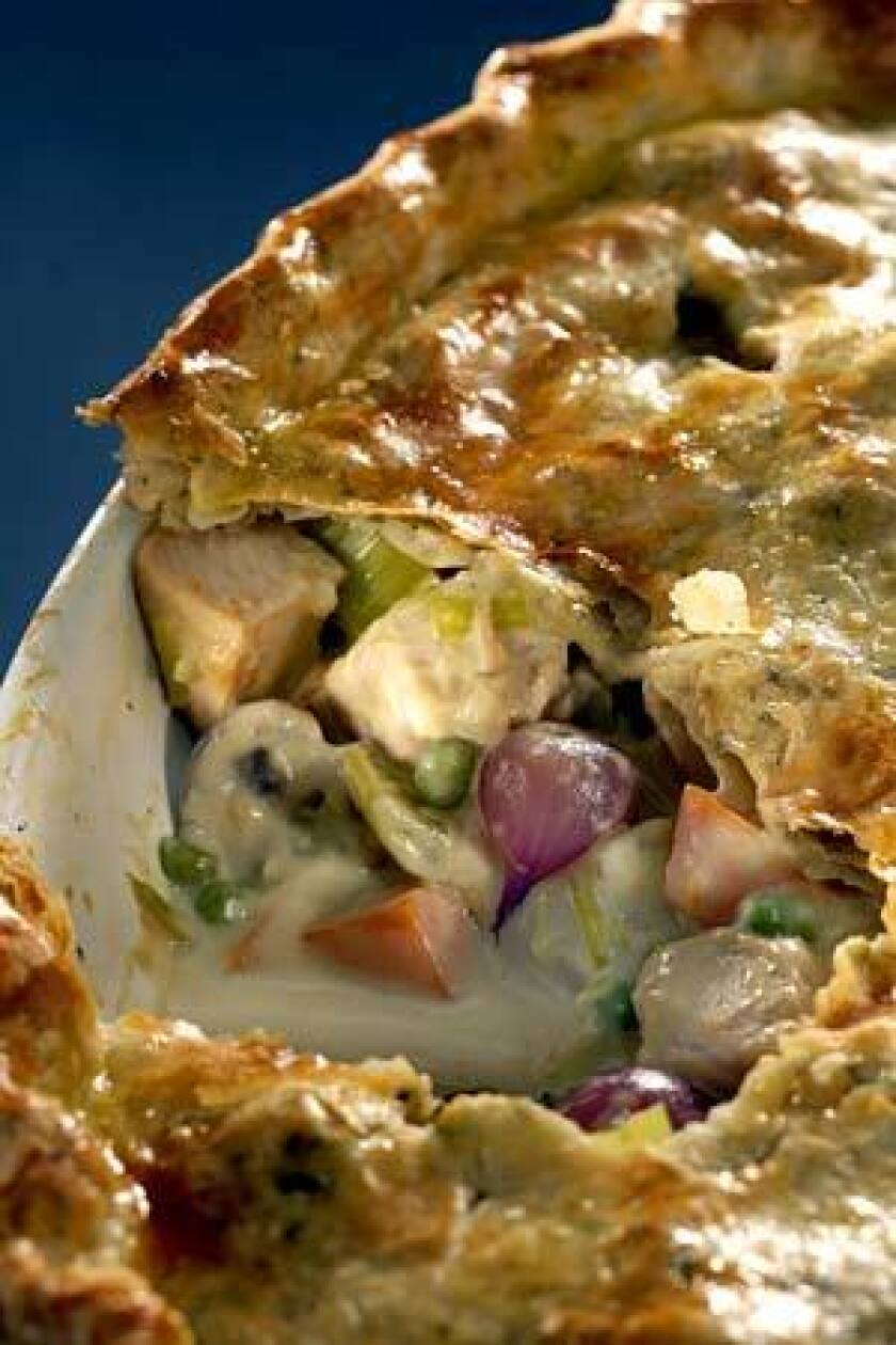 BOUNTY: Pot pie is filled with turkey, pearl onions, mushrooms, potatoes and peas.