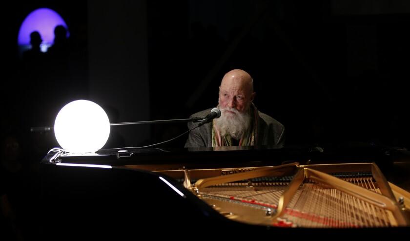 Minimalist pioneer Terry Riley improvises to a Doug Aitken installation at the Geffen Contemporary on Thursday night.