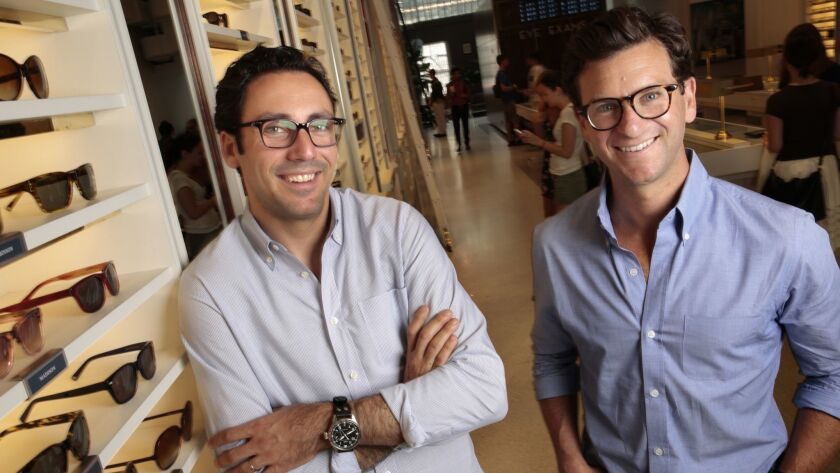 Neil Blumenthal, left, and Dave Gilboa are the co-chief executives of Warby Parker, an eyewear company whose name comes from two Jack Kerouac characters.