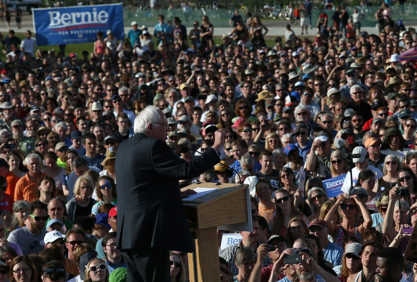 Sen. Bernie Sanders delivers remarks while officially announcing his candidacy for the U.S. presidency during an event in Burlington, Vt. on May 26.