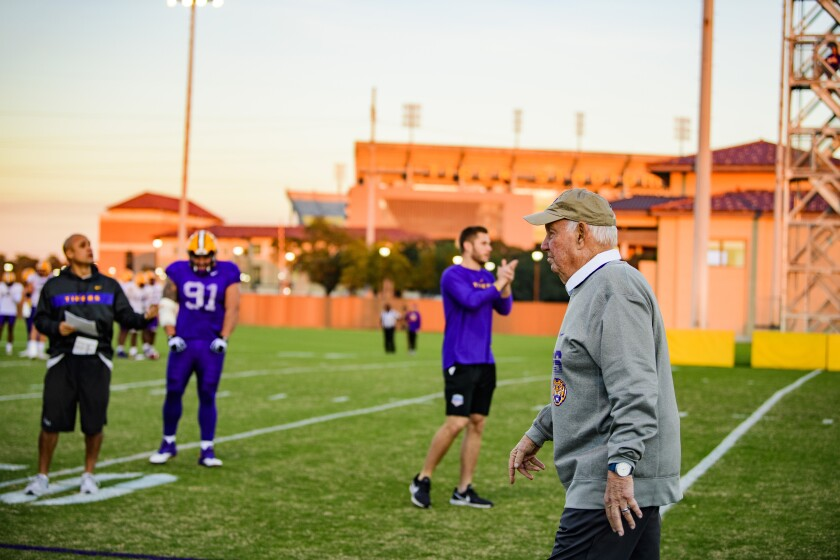 Former USC football coach John Robinson at LSU Football practice.
