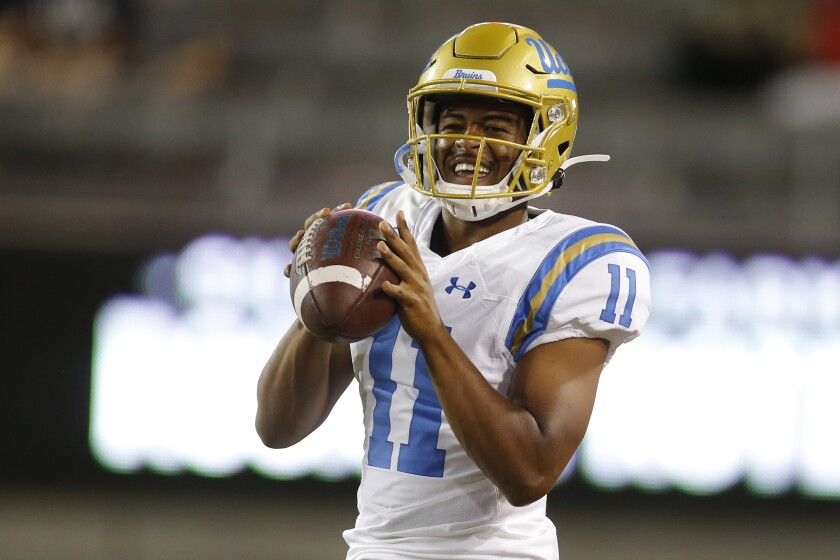 UCLA quarterback Chase Griffin (11) during an NCAA college football game against Arizona.