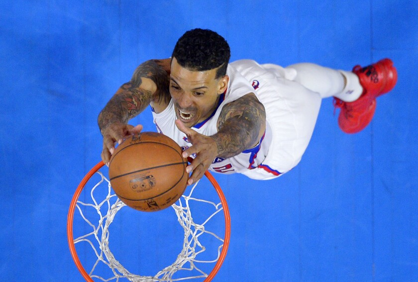 Then-Clippers forward Matt Barnes dunks against the San Antonio Spurs at Staples Center on May 2.