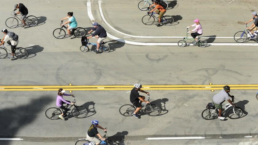 CicLAvia participants ride through downtown Los Angeles.