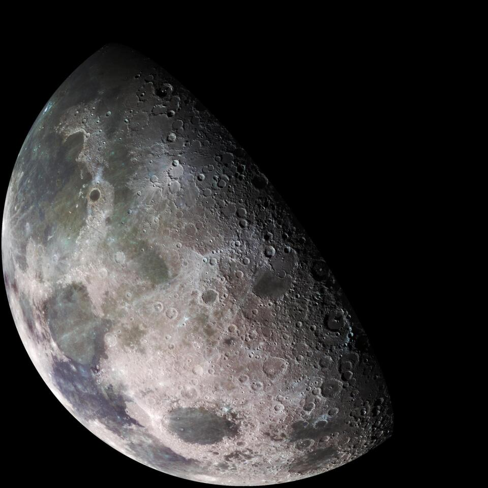 A view of Earth's moon taken by the Galileo spacecraft in 1992 on its way to explore Jupiter.