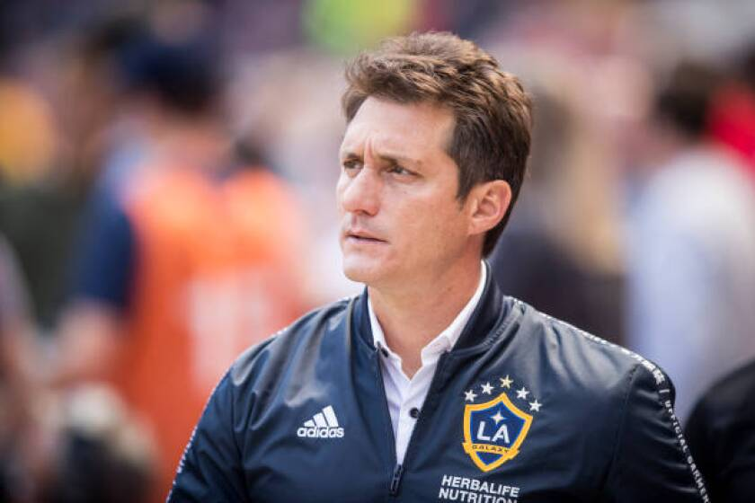 Galaxy coach Guillermo Barros Schelotto looks on May 4, 2019, against the New York Red Bulls in Harrison, N.J.