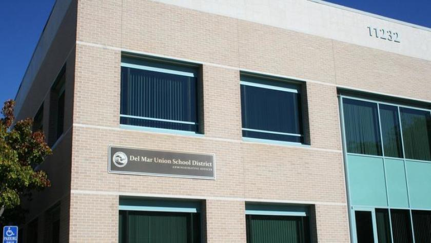 The exterior of the Del Mar Union School District office building.