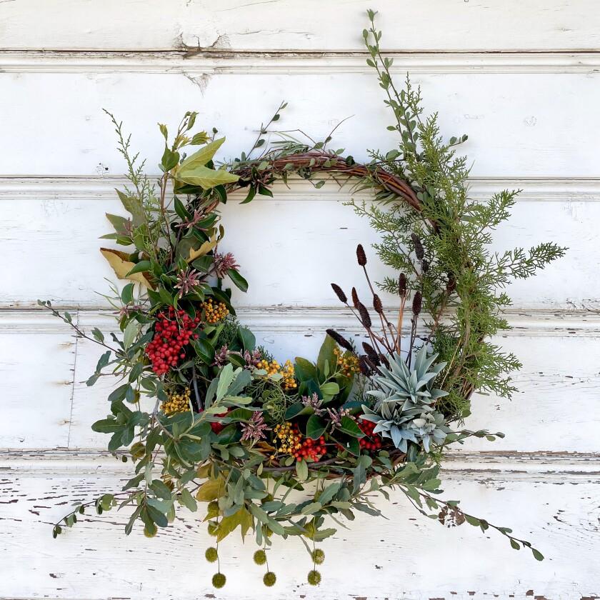 A native plant wreath made by Ernesto Alvarado of the California Native Plant Society's Riverside-San Bernardino Chapter.