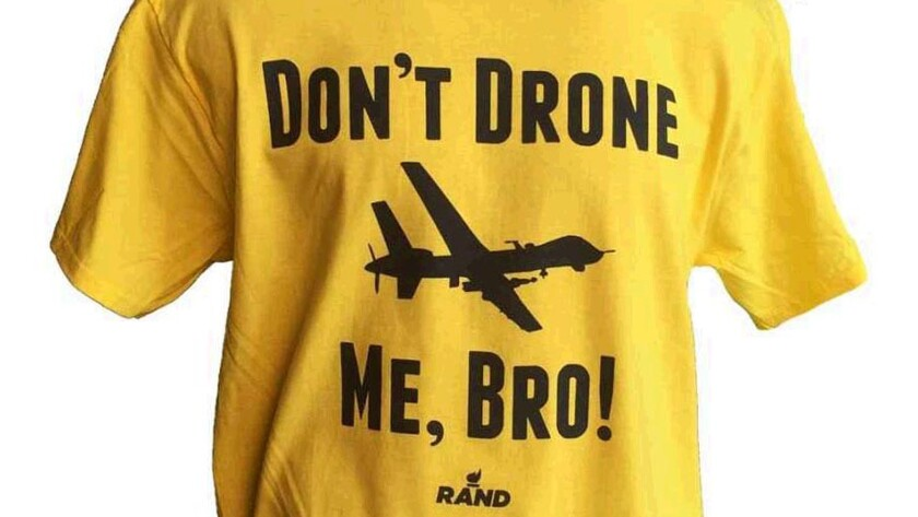"""A """"Don't Drone Me, Bro"""" shirt in yellow cotton is featured on Rand Paul's website."""