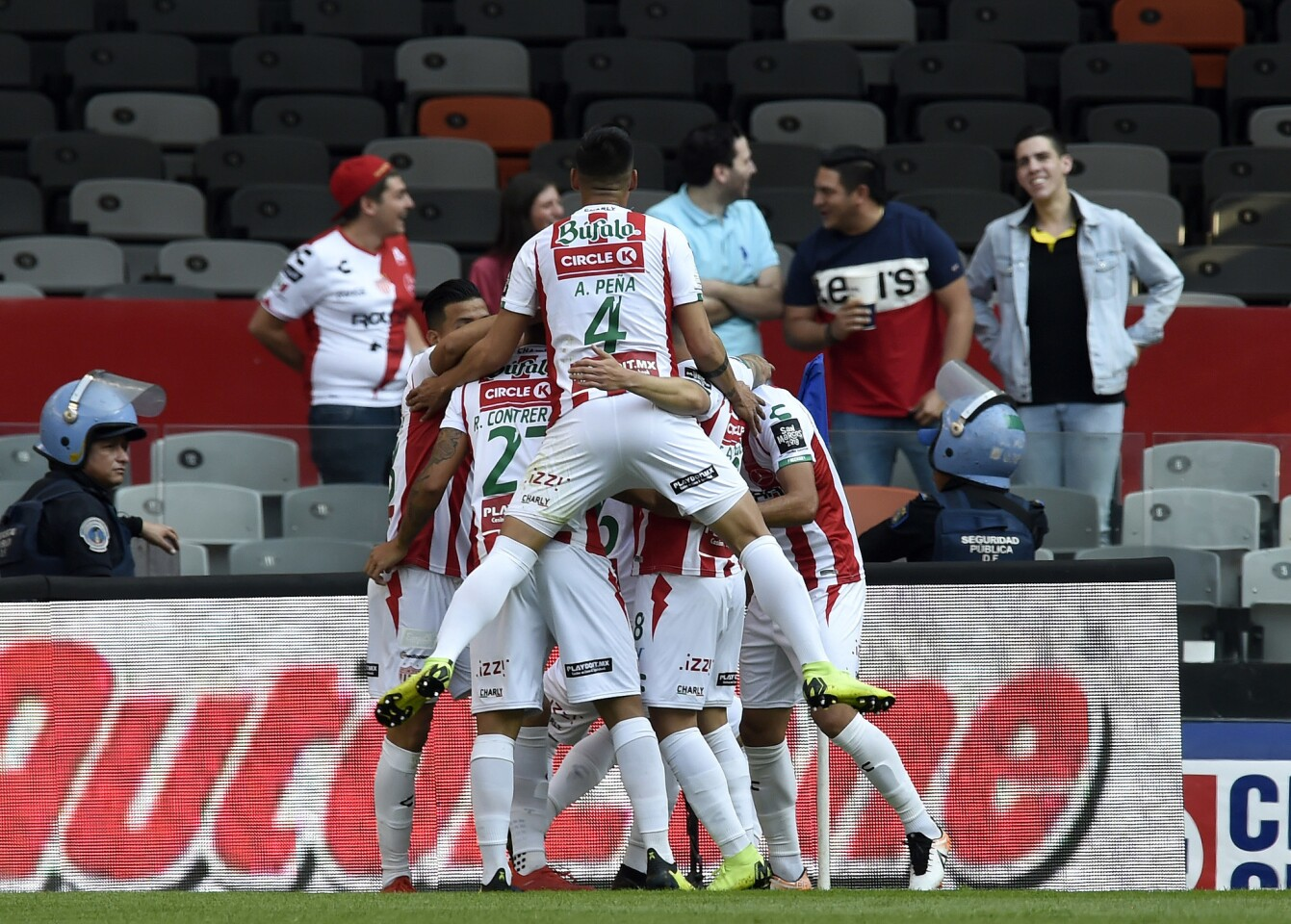 Necaxa players celebrate a goal against Cruz Azul during a Mexican Apertura tournament football match at the Azteca stadium in Mexico City on March 2, 2019. (Photo by ALFREDO ESTRELLA / AFP)ALFREDO ESTRELLA/AFP/Getty Images ** OUTS - ELSENT, FPG, CM - OUTS * NM, PH, VA if sourced by CT, LA or MoD **