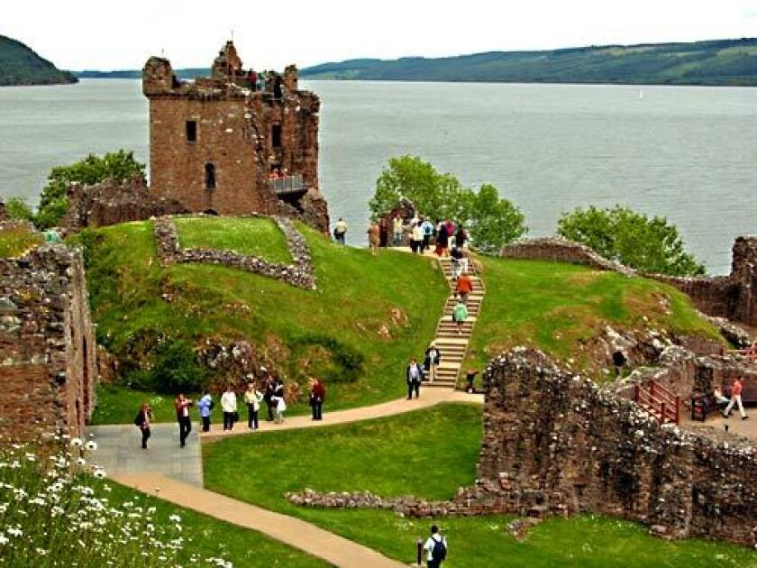 The ruins of Urquhart Castle perch on a rocky promontory above Loch Ness. Most Nessie sightings occur near the ancient stronghold. When not on the trail of the Loch Ness Monster, many visitors travel a different trail, one involving Scotch whiskey.