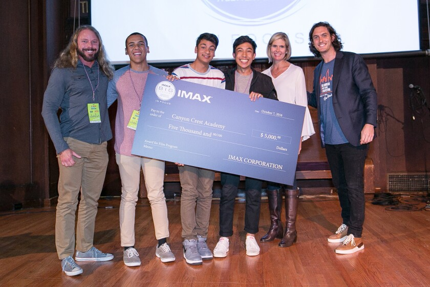 Canyon Crest Academy received a $5,000 grant from IMAX to benefit its film program.