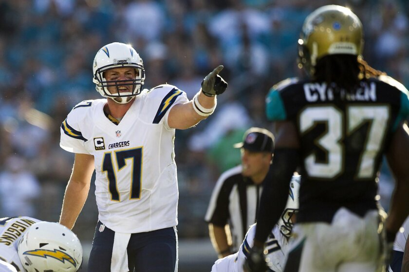 Nov 29, 2015; Jacksonville, FL, USA; San Diego Chargers quarterback Philip Rivers (17) calls out a play during the fourth quarter against the Jacksonville Jaguars at EverBank Field. The San Diego Chargers won 31-24. Mandatory Credit: Logan Bowles-USA TODAY Sports ** Usable by SD ONLY **