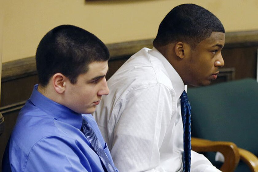Trent Mays, 17, left, and co-defendant 16-year-old Ma'lik Richmond during their trial on rape charges in juvenile court in Steubenville, Ohio.
