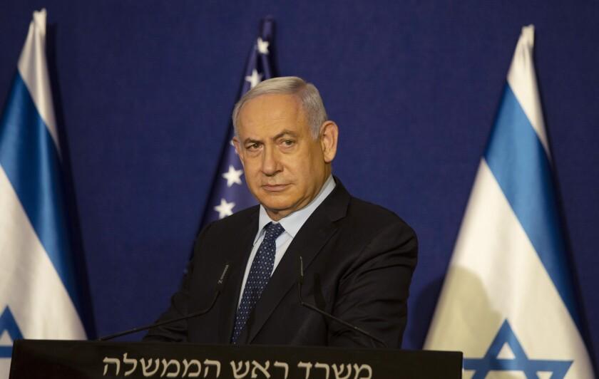 El primer ministro israelí Benjamin Netanyahu en conferencia de prensa en Jerusalén el 19 de noviembre del 2020. (AP Photo/Maya Alleruzzo, Pool)