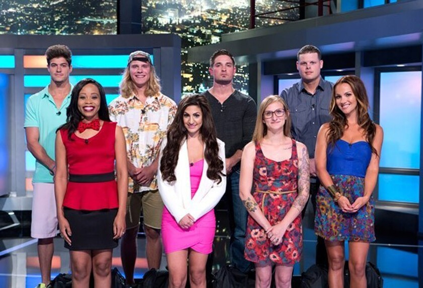 """Caleb Reynolds, center back row, and seven other """"Big Brother"""" contestants."""