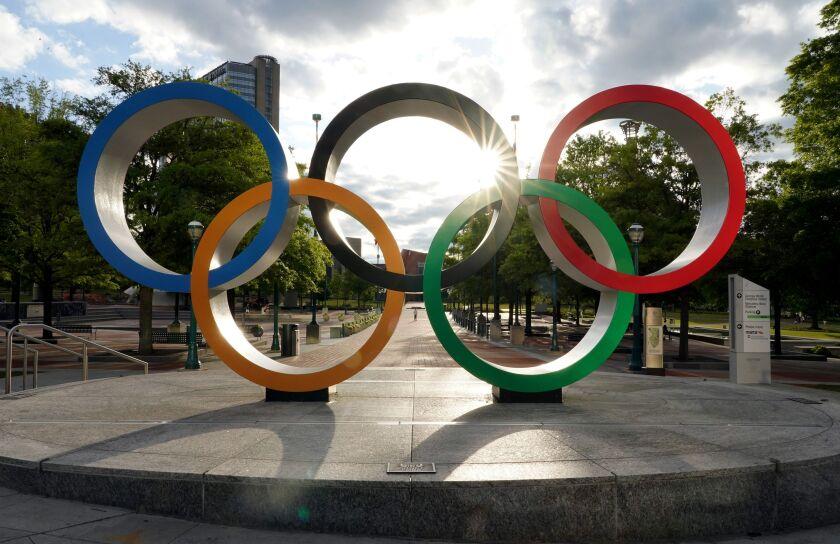 The Olympic rings in Atlanta.