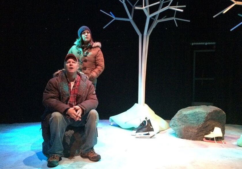 """Dan Warner and Allison Tolman in """"Almost, Maine"""" at the Hudson Mainstage Theatre"""