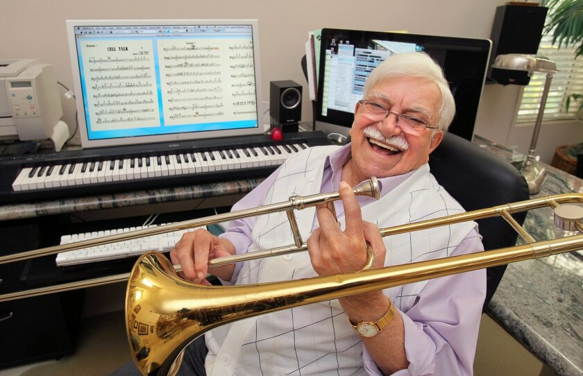 Portrait of musician Sammy Nestico at his Carlsbad home. He began his music career playing the trombone, but switched to composing and arranging.