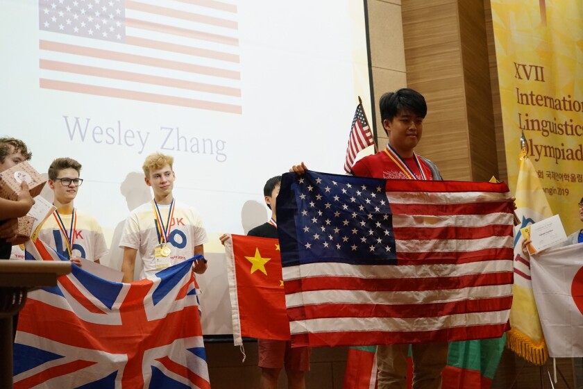 Canyon Crest Academy student Wesley Zhang's USA team won the International Linguistics Olympiad in Yongin, South Korea.