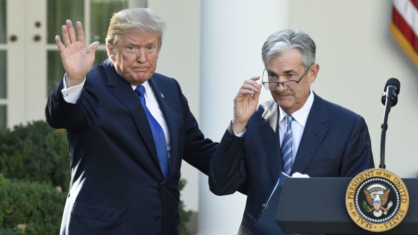 President Trump after announcing Jerome H. Powell as his nominee for chairman of the Federal Reserve in November