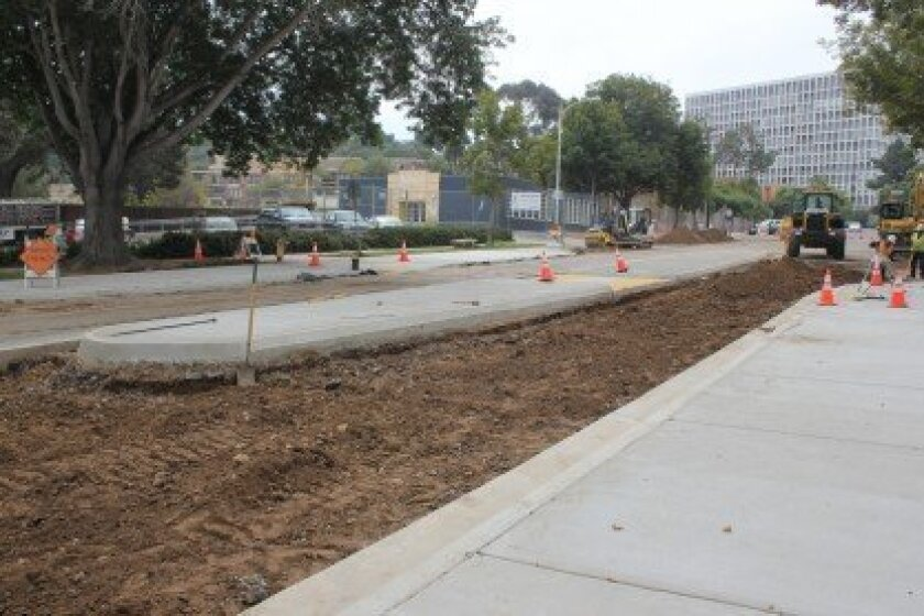 The city is adding a median to upper Girard Avenue and narrowing the section of the street between La Jolla Elementary and The Gillispie School to slow traffic. Gillispie Head of School Alison Fleming said she expects the work will be complete when classes resume at Gillispie Tuesday, Aug. 27.