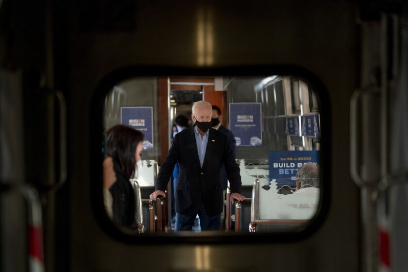 Joe Biden was on a train tour through Ohio and Pennsylvania on Wednesday
